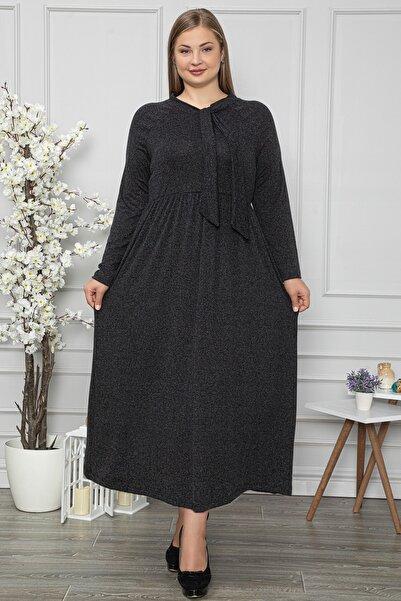 1fazlası Kadın Büyük Beden Kravat Yaka Belden Oturtmalı Gri Elbise