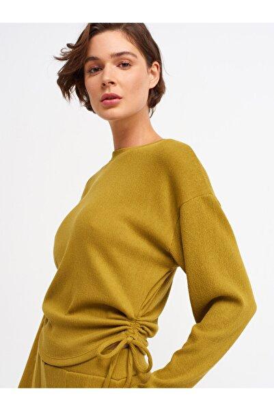Dilvin 3615 Büzgülü T-shirt-yağ Yeşil