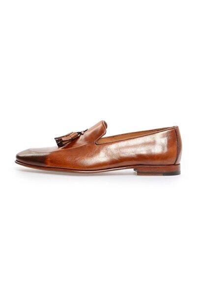 Flower Taba Önden Püskül Detaylı Klasik Ayakkabı
