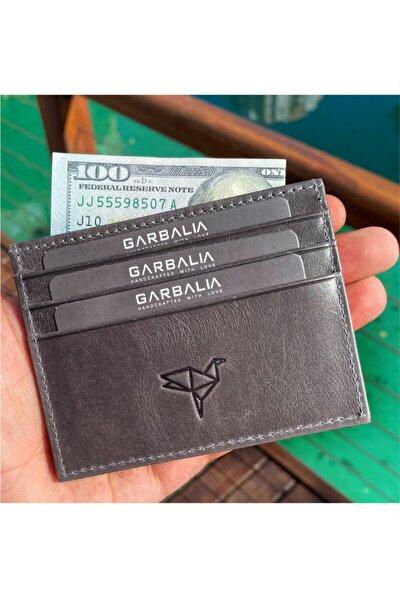 Garbalia %100 El Yapımı Crazy Deri Gri Unisex Slim Kartlık Cüzdan