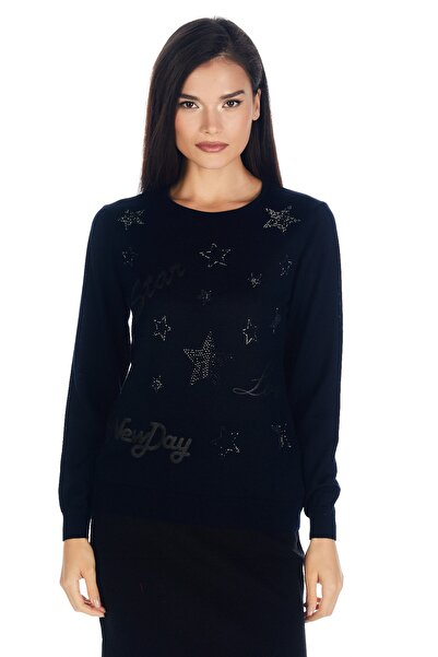 Solo Yıldızlı Desenli Triko Bluz