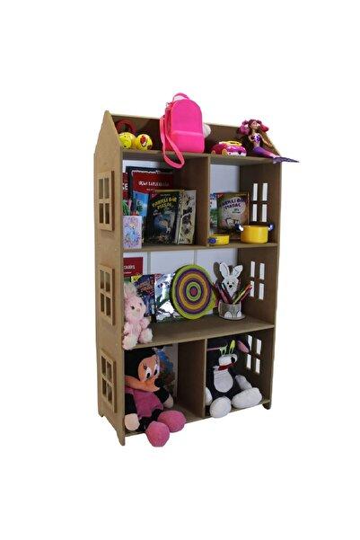 madelloon Çocuk Oyuncak Evi Bebek Oda Montessori Yatak Yanı Kitaplık Raf Oyuncak Parkı Dolabı