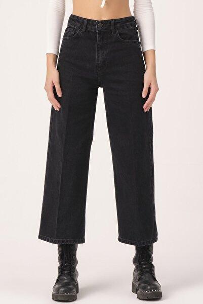 its basic Kadın Black Od Wide Leg Kalıp Bol Paça Jean