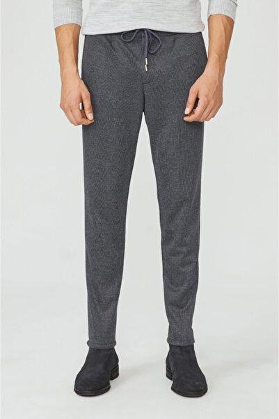 Avva Erkek Antrasit Yandan Cepli Pileli Ekoseli Beli Lastikli Kordonlu Çizgili Relaxed Fit Pantolon