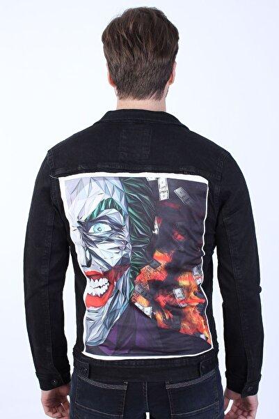 LTC Jeans Joker Baskılı Erkek Siyah Yıkamalı Kot Ceket