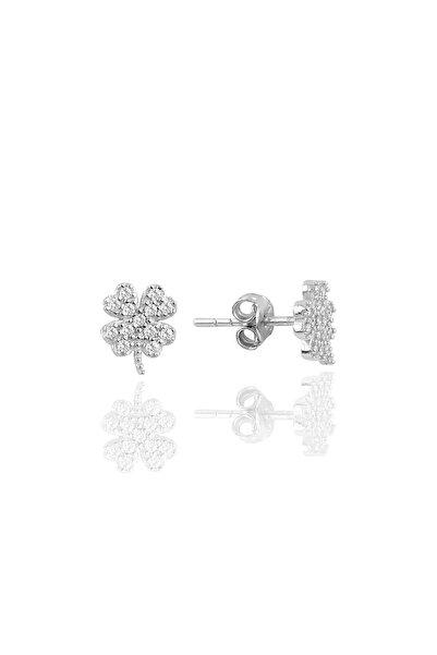 Söğütlü Silver Gümüş Rodyumlu Zirkon Taşlı Yonca Küpe