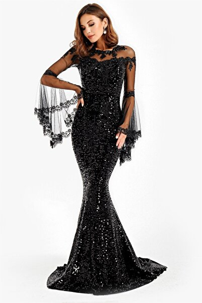 By Saygı Kolları Volanlı Pulpayet Uzun Abiye Elbise Siyah