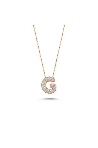 Bulvardi Harfli Kolyeler Rose Gümüş Taşlı - G Harfi - Standart - Ada001-1719
