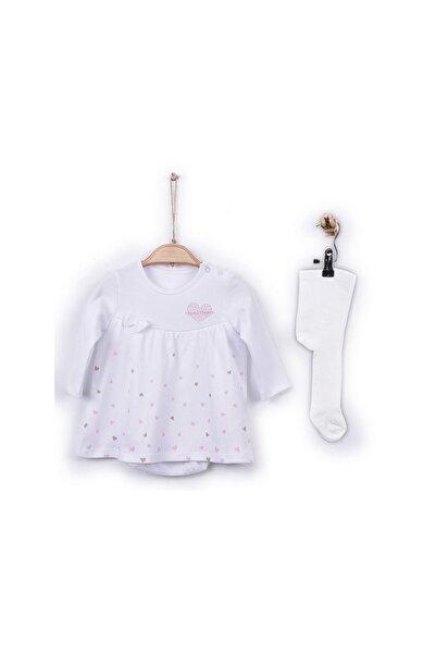 kitikate S30068 Kız Bebe Organik Dreams Jile Body - Çoraplı Beyaz