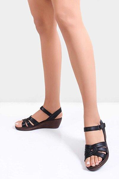Deripabuc Hakiki Deri Siyah Kadın Deri Sandalet Dp05-0233
