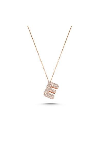 Bulvardi Harfli Kolyeler Rose Gümüş Taşlı - E Harfi - Standart - Ada001-1717