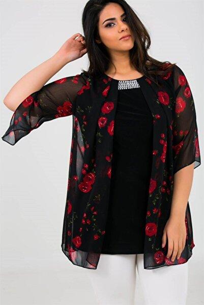By Saygı Gül Desen Yaka Boncuklu Üstü Şifon Likra Bluz Siyah-kırmızı