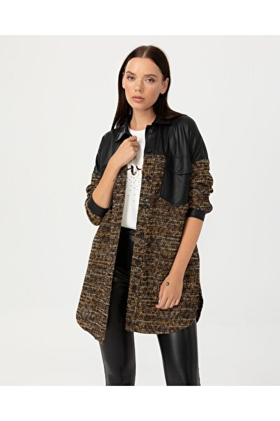 SEÇİL Kadın Deri Görünüm Detaylı Ceket - Siyah