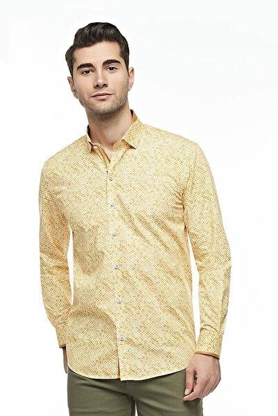 Ottomoda Uzun Kollu Desenli Erkek Gömlek Yellow