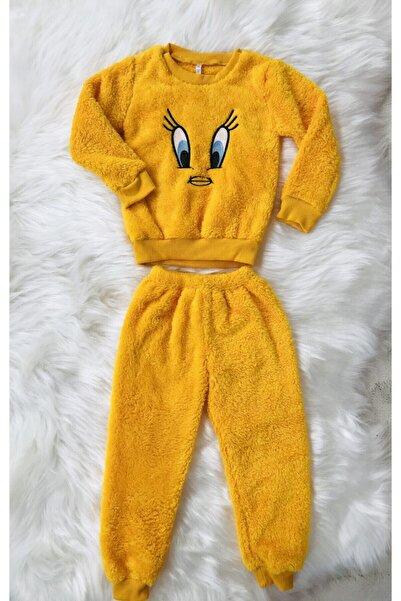 Manolya Kız Çocuk Sarı Kuş Desenli Peluş Pijama Takımı