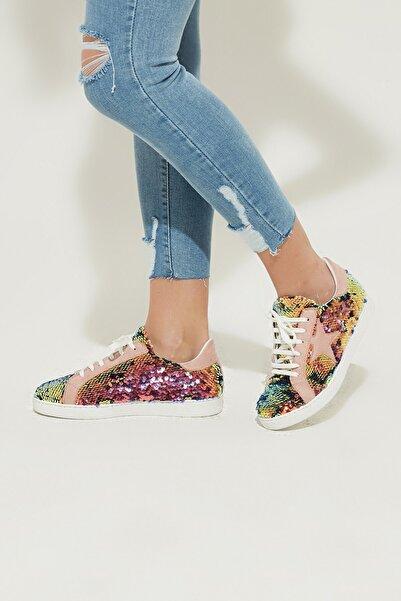 ZİNDİ Kadın Sneaker Spor Ayakkabı Pudra