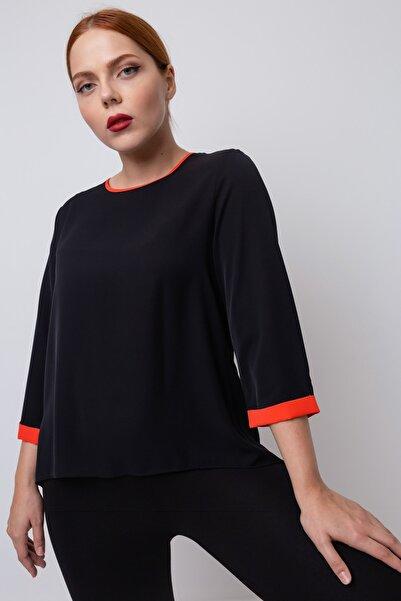 Lafaba Kadın Siyah Önü Kısa Arkası Uzun Büyük Beden Bluz