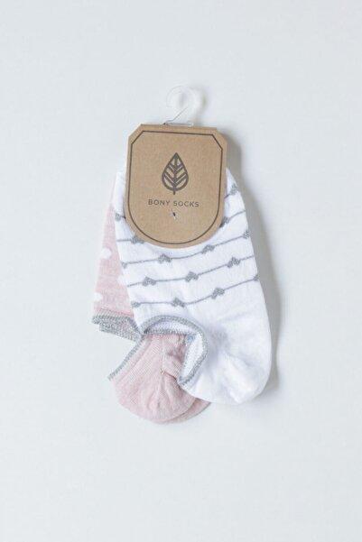 Katia&Bony 2'li Paket Bayan Kalpli Çorap - Beyaz / Pembe