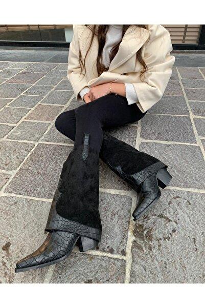 Mole Negro Western Kadın Paçalı Siyah Süet Ve Yılan Derili Topuklu Kovboy Çizmesi Ayakkabı