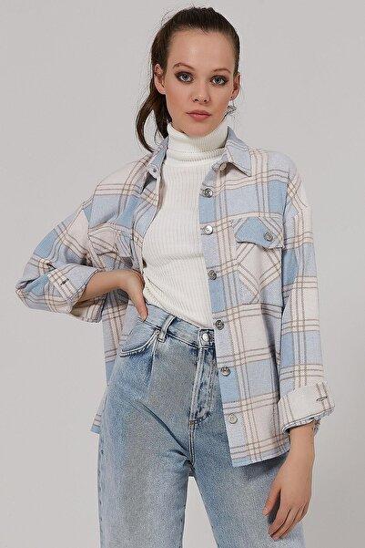 Y-London Kadın Ekoseli Cepli Oduncu Gömlek Y20w110-4583