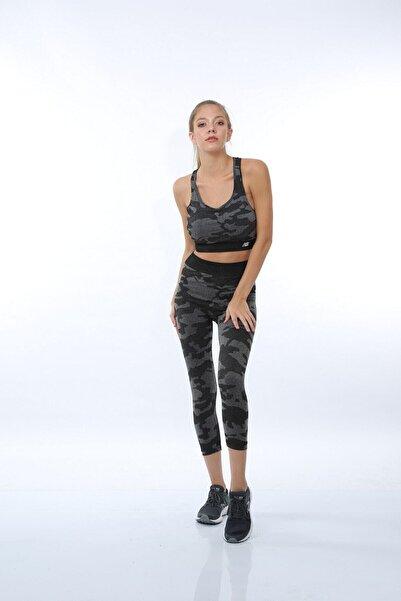 New Balance Kadın Gri Camo Bra Nbtm016