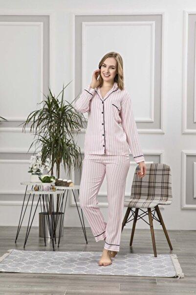 Manolya Kadın Pembe 2'li Uzun Kollu Çizgili Pijama Takımı