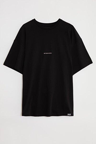 GRIMELANGE Rıver Erkek Siyah Önü Yazı Nakışlı Kısa Kollu Oversize T-shirt