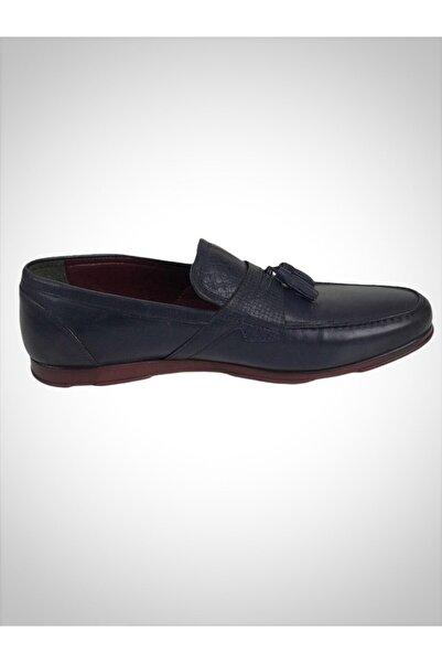 Cacharel Erkek Mavi Hakiki Deri Klasik Ayakkabı