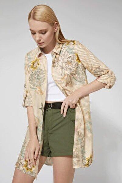 Sarı Çizgili Desenli Bayan Tunik Gömlek