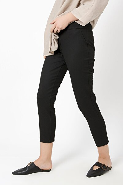 ZİNDİ Kadın Düğmeli Kumaş Pantolonu Siyah