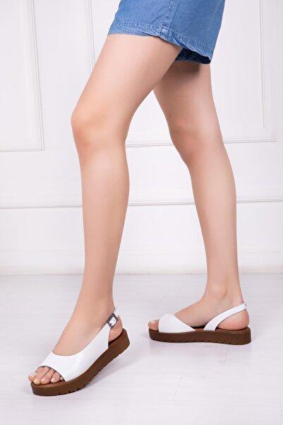 Deripabuc Hakiki Deri Beyaz Kadın Deri Sandalet Dp-0094