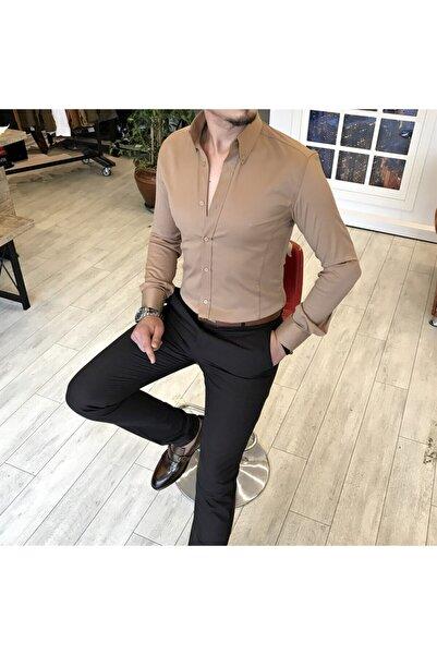 TerziAdemAltun Italyan Stil Slim Fit Dik Yaka Saten Erkek Gömlek Vizon T5104