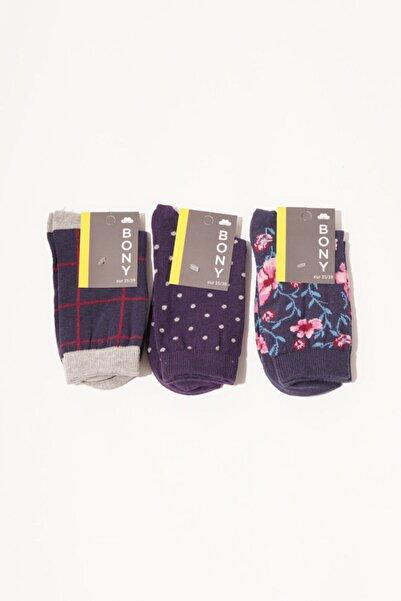 Katia&Bony 3 Lü Paket Flowers Kadın Soket Çorap - Mix