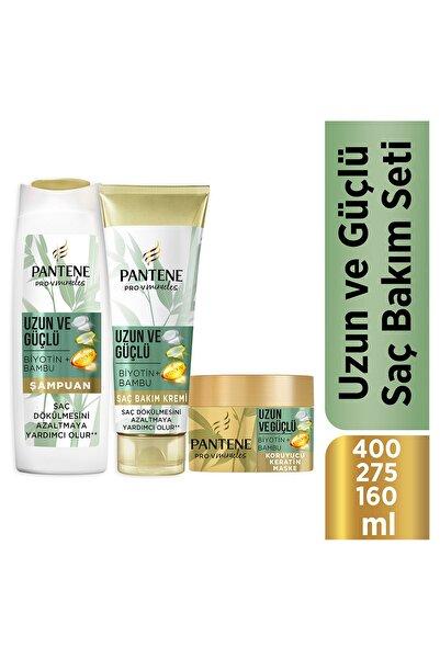 Pantene Uzun ve Güçlü Bambu ve Biotinli Şampuan 400 ml Saç Kremi 275 ml Maske 160 ml Saç Bakım Seti