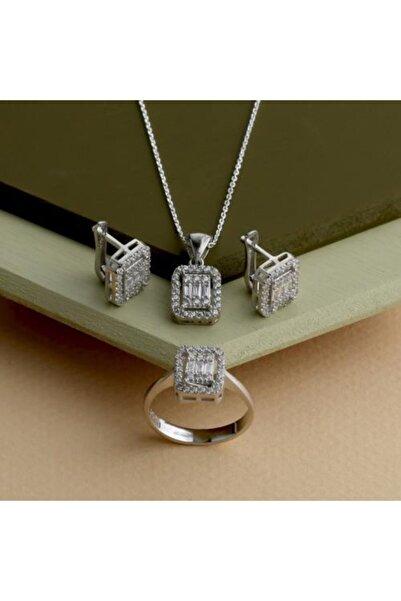 GÜLAL GÜMÜŞ 925 Ayar Gümüş Rodyum Kaplama Trapez Set