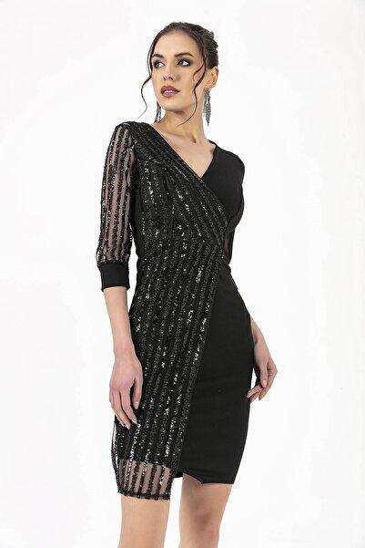 By Saygı Kolu Pul Payet Elbise Siyah