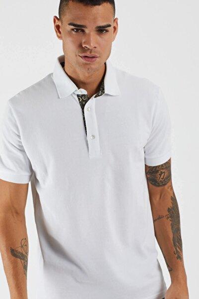 TBASIC Erkek Beyaz Şal Desen Polo Yaka Tişört