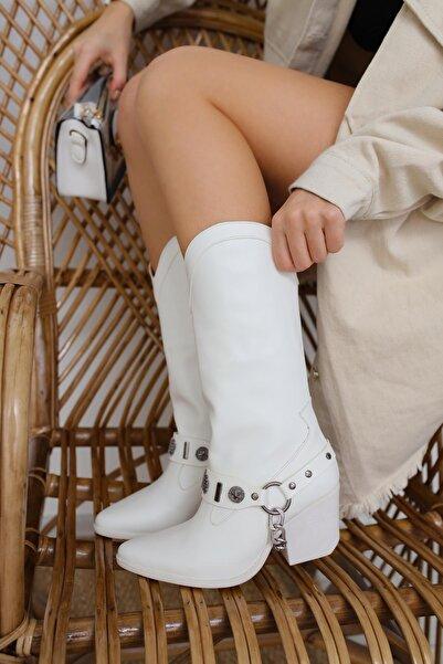 Limoya Kadın Beyaz Dalary Deri Zincirli Kovboy Çizme
