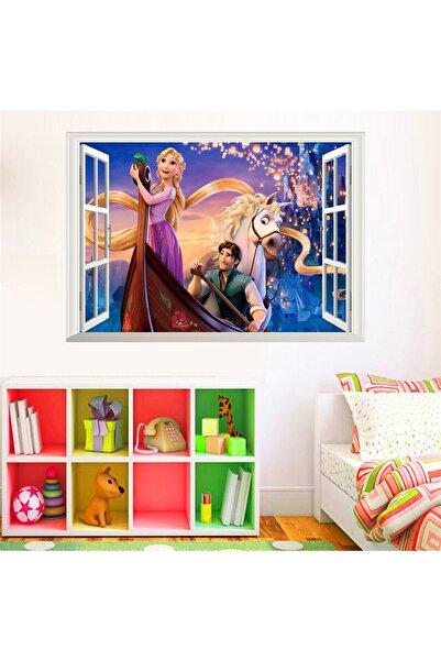 CRYSTAL KIDS Rapunzel Prenses Kız Odası Duvar Dekorasyonu Pvc Duvar Sticker Dekor Çıkartma