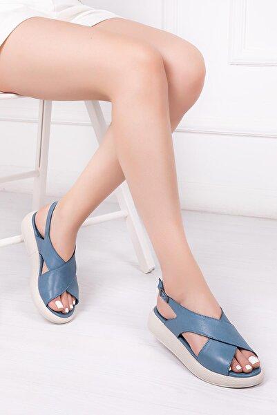 Deripabuc Hakiki Deri Kot Mavi Kadın Deri Sandalet Dp-1845
