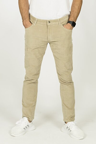 Berm Collection Erkek Taş Rengi 5 Cepli Ince Fitilli Kadife Skinny Fit Pantolon