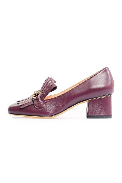 Flower Bordo Tokalı Kadın Ayakkabı