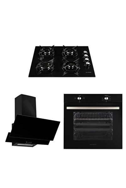 Alveus Siyah Ankastre Set ( Mfa 604 M Fırın - Gls 640 Bl Ocak - F17/60 Davlumbaz )
