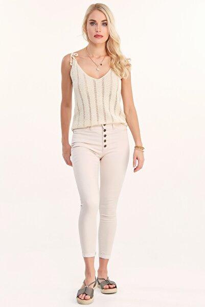 Fulla Moda Yüksek Bel Düğmeli Jean