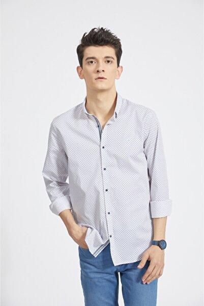 Avva Erkek Beyaz Baskılı Alttan Britli Yaka Slim Fit Gömlek A02y2062