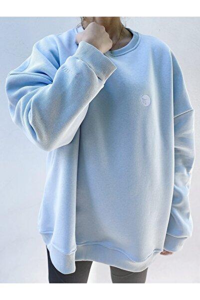 Pinuts Unisex Mavi Düz Yaka Geniş Kalıp Sweatshirt