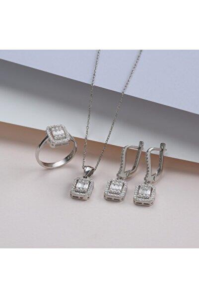 GÜLAL GÜMÜŞ 925 Ayar Gümüş Trapez Taşlı Set