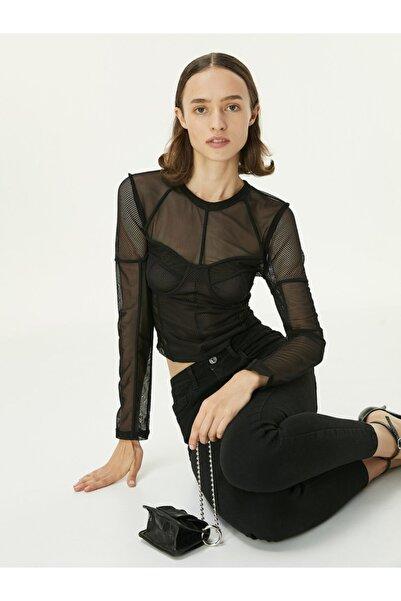 Twist File Detaylı Transparan Bluz