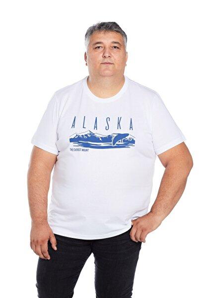 The Everest Mount Büyük Beden Erkek Beyaz Bisiklet Yaka Outdoor Baskılı Alaska Tişört