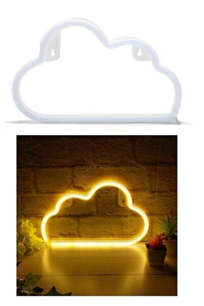 Viselia Neon Led Lamba Bulut Led Işık Pilli Duvar Tipi Led Gece Lambası